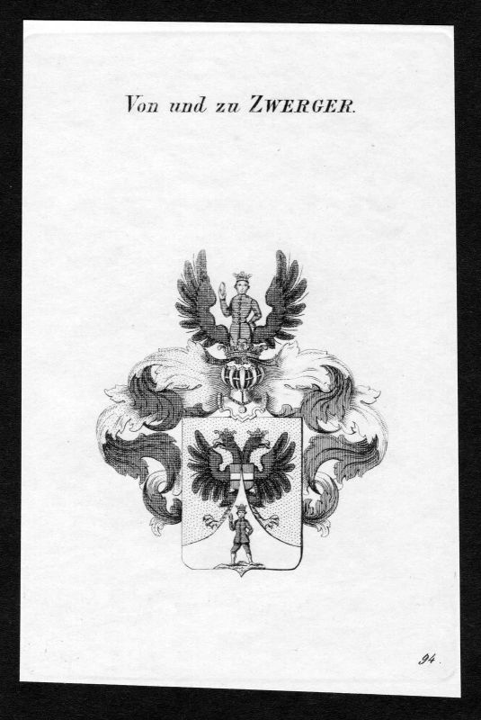 Ca. 1820 Zwerger Wappen Adel coat of arms Kupferstich antique print heraldry 0