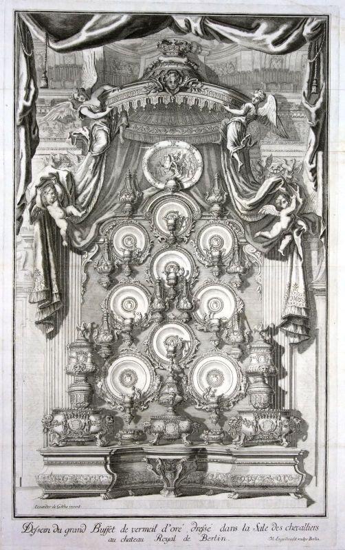 1705 Berliner Schloss Berlin Rittersaal Prunkbuffet Kupferstich antique print 0