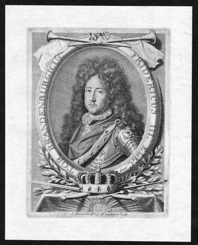 17. Jh. Friedrich I Preußen Hohenzollern Portrait Kupferstich antique print 0