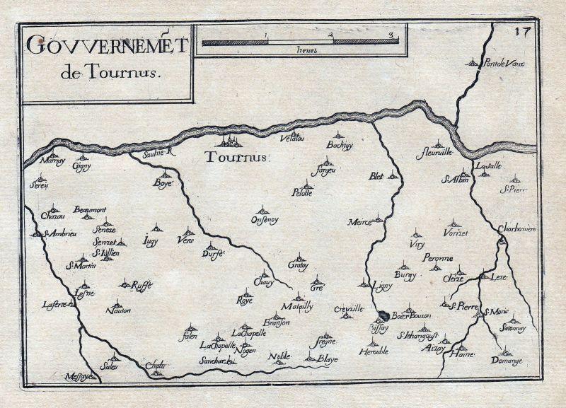 1630 Tournus Bourgogne Burgund France gravure estampe Kupferstich Tassin