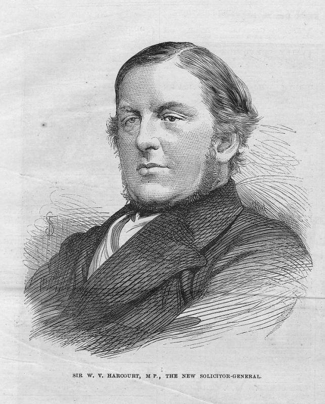 1873 W. V. Harcourt M. P. Solicitor U.K. Anwalt lawyer Portrait woodcut antique 0