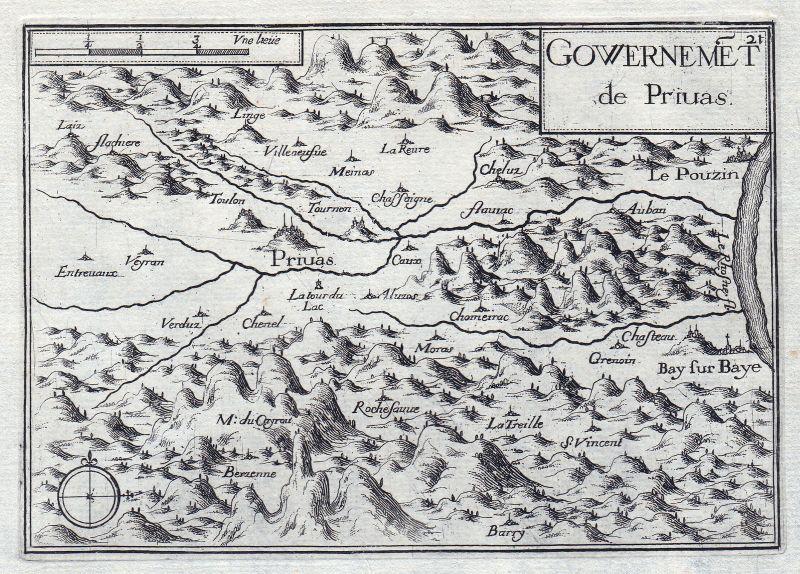 1630 Privas Rhone-Alpes Ardeche France gravure estampe Kupferstich Tassin 146400