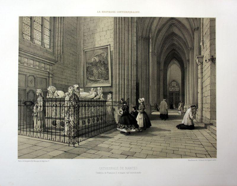 Ca. 1870 Cathedrale de Nantes interieur Bretagne France estampe Lithographie