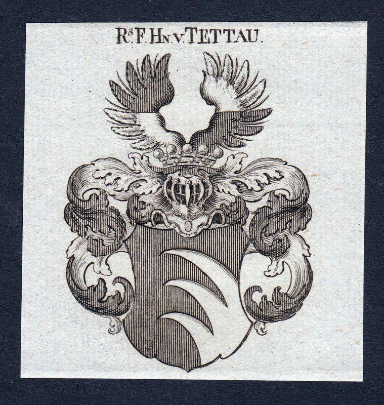 1820 Tettau Böhmen Wappen Adel coat of arms Heraldik Kupferstich engraving