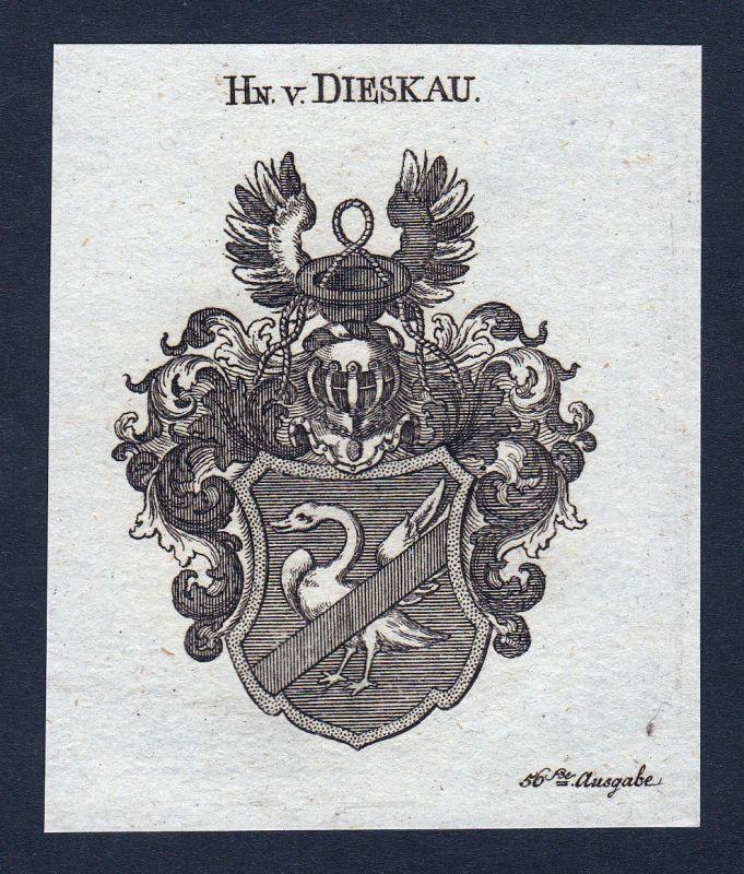 1820 Dieskau Meißen Saalekreis Wappen Adel coat of arms Kupferstich engraving