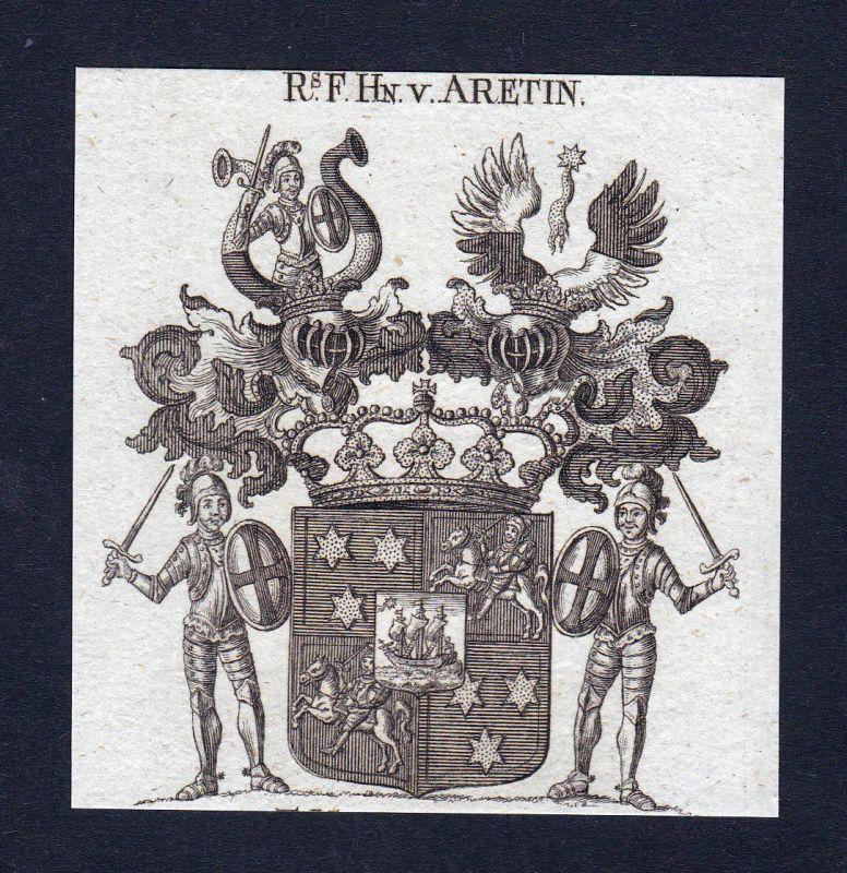 1820 Aretin Bayern Wappen Adel coat of arms Heraldik Kupferstich engraving