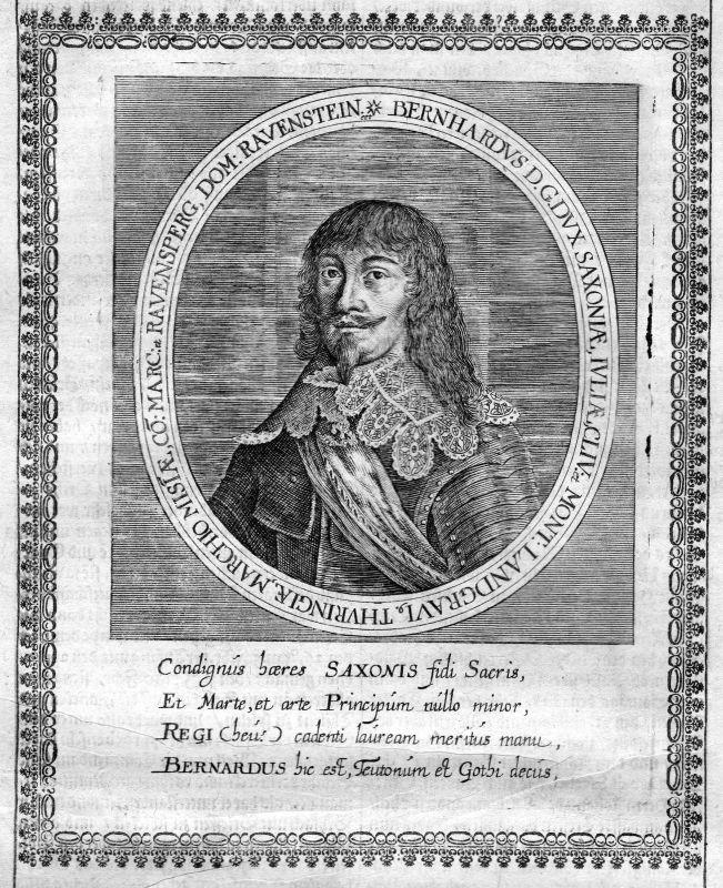 Ca. 1665 Bernhard Sachsen Weimar Portrait Kupferstich antique print