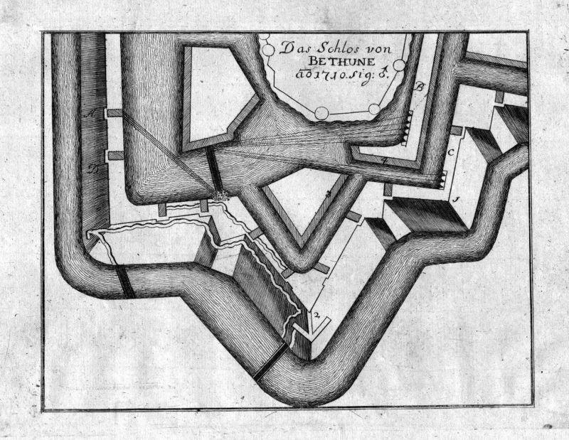 1715 Bethune bataille gravure carte plan map Kupferstich antique print Merian