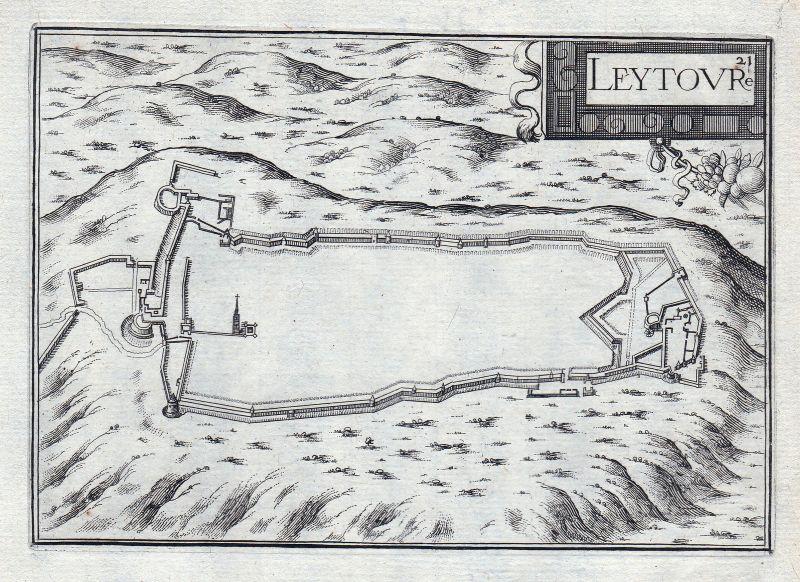 1630 Leytoure Okzitanien Gers France gravure estampe Kupferstich Tassin