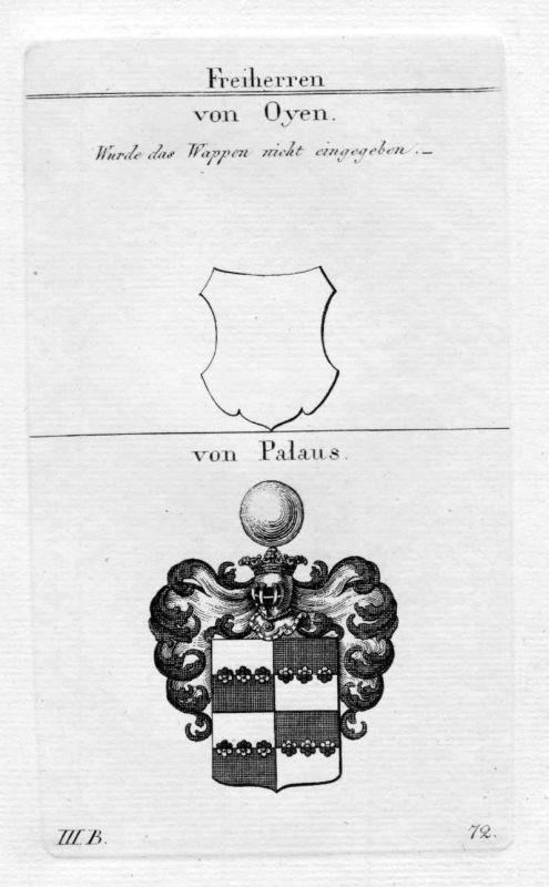 Oyen Palaus - Wappen Adel coat of arms heraldry Heraldik Kupferstich