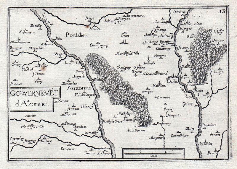 1630 Auxonne Cote-d'Or Bourgogne France gravure estampe Kupferstich Tassin