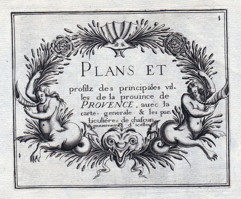 1630 Provence Ornament titel France gravure estampe Kupferstich Tassin