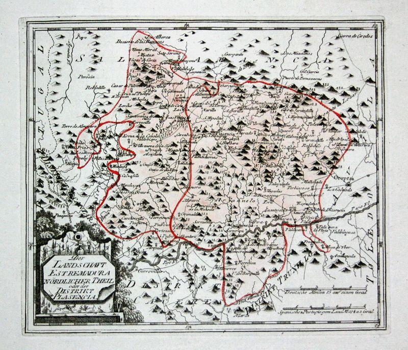 Spanien Spain Portugal Plasencia Extremadura map Reilly engraving Kupferstich