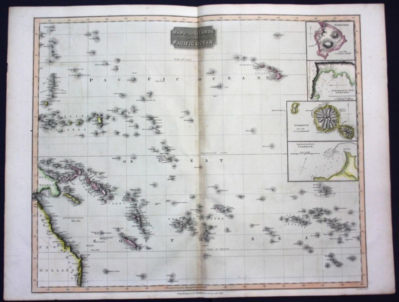 1817  Pacific Ocean Cook islands Hawaii Tahiti map Karte Thomson Kupferstich
