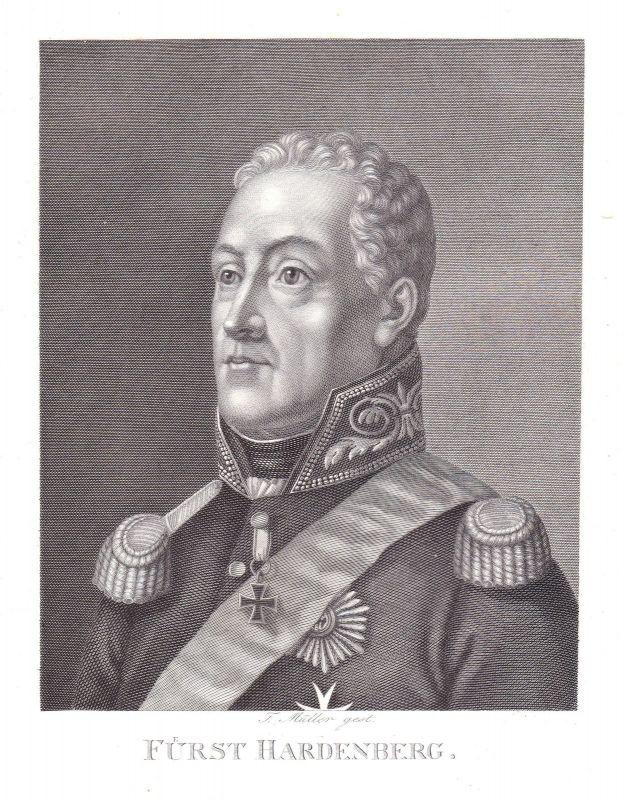 1820 Karl August von Hardenberg Hannover Staatsmann Portrait Kupferstich Müller