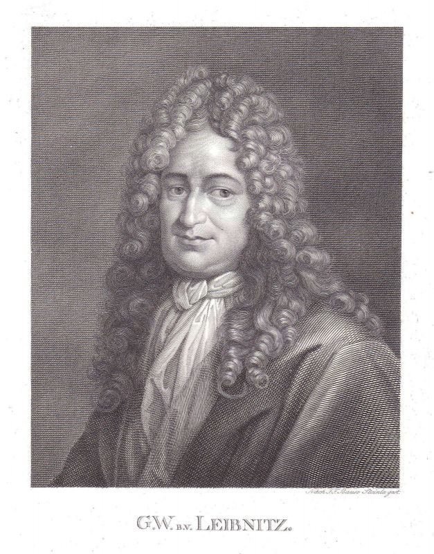 1820 Gottfried Wilhelm Leibniz Mathematiker Historiker Leipzig Portrait Steinla