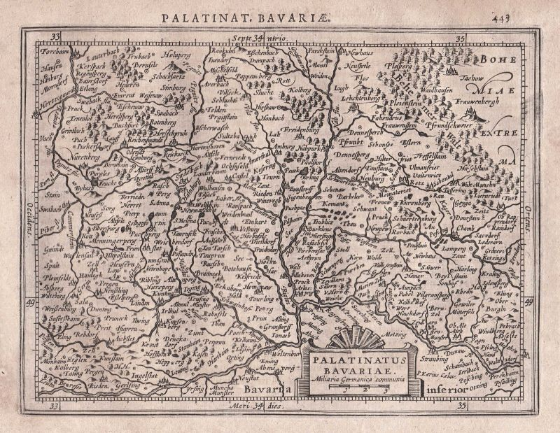 1628 Bavaria Bayern Oberpfalz Regensburg Nuremberg Nürnberg map Karte Mercator