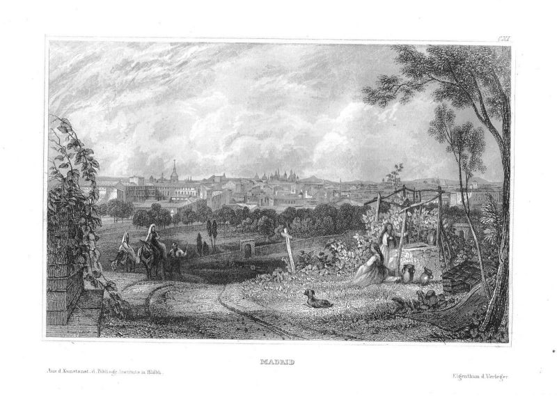 1840 - Madrid Spanien España Spain Stahlstich engraving