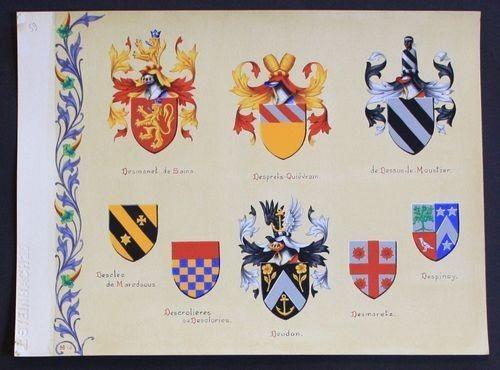 Desmanet Despinoy Desmaretz Deudon Desclee Blason heraldique coat of arms