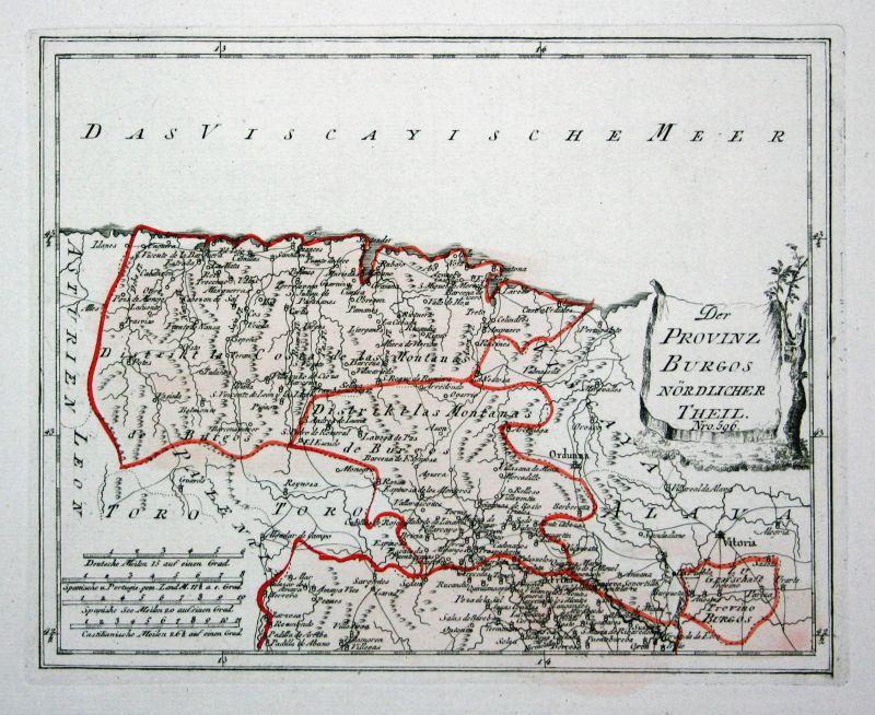 Spanien Spain Portugal Burgos Santander map Karte Reilly engraving Kupferstich
