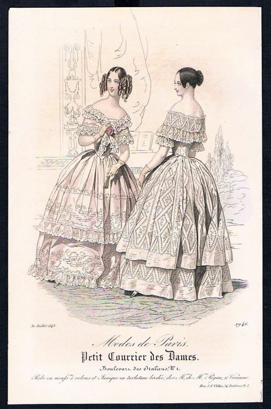 1843 Biedermeier Mode Kupferstich victorian fashion antique print Paris etching