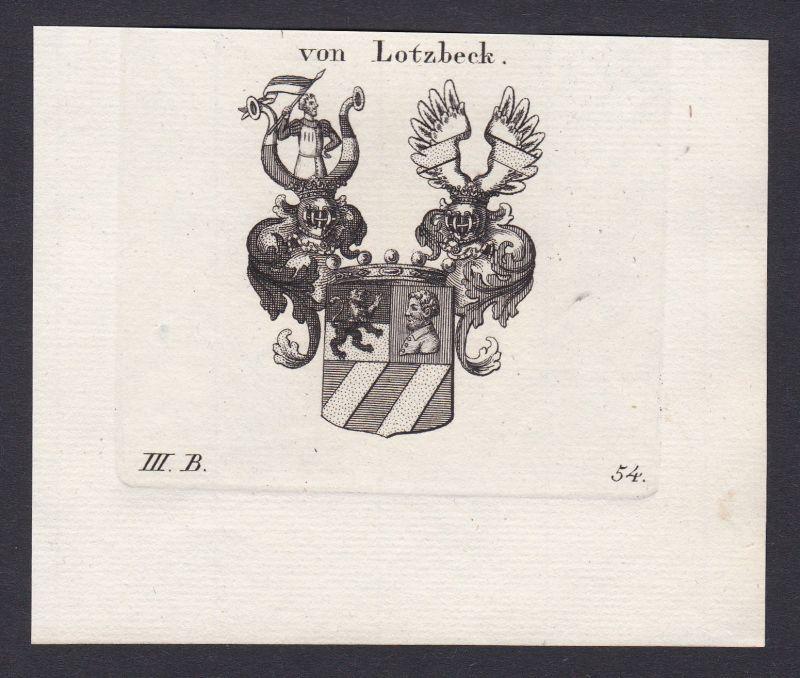 1820 Lotzbeck Wappen Adel coat of arms Heraldik Kupferstich antique print