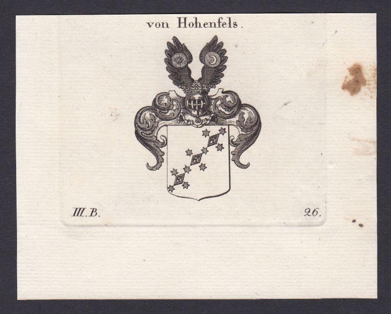 1820 Hohenfels Wappen Adel coat of arms Heraldik Kupferstich antique print
