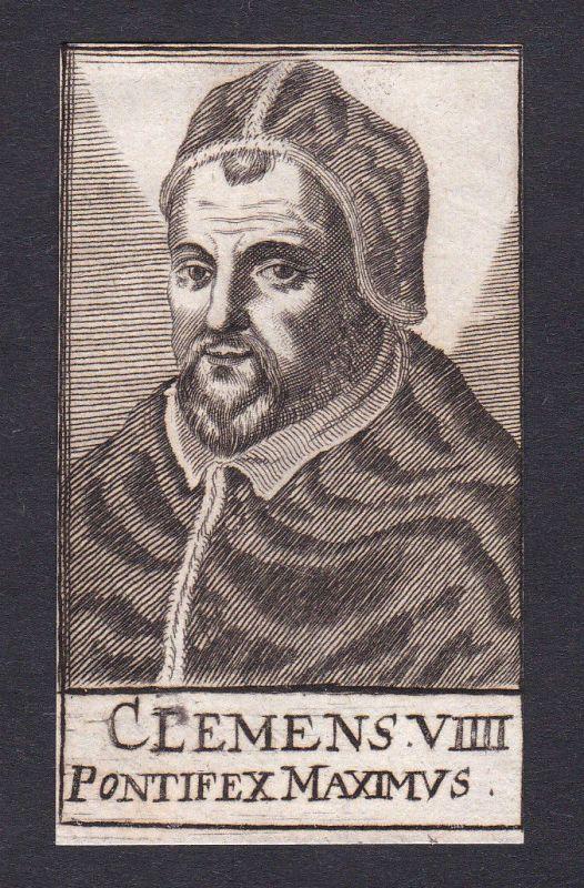 17. Jh. Clemens VIII. / pope Papst Fano Italien Italy Portrait Kupferstich