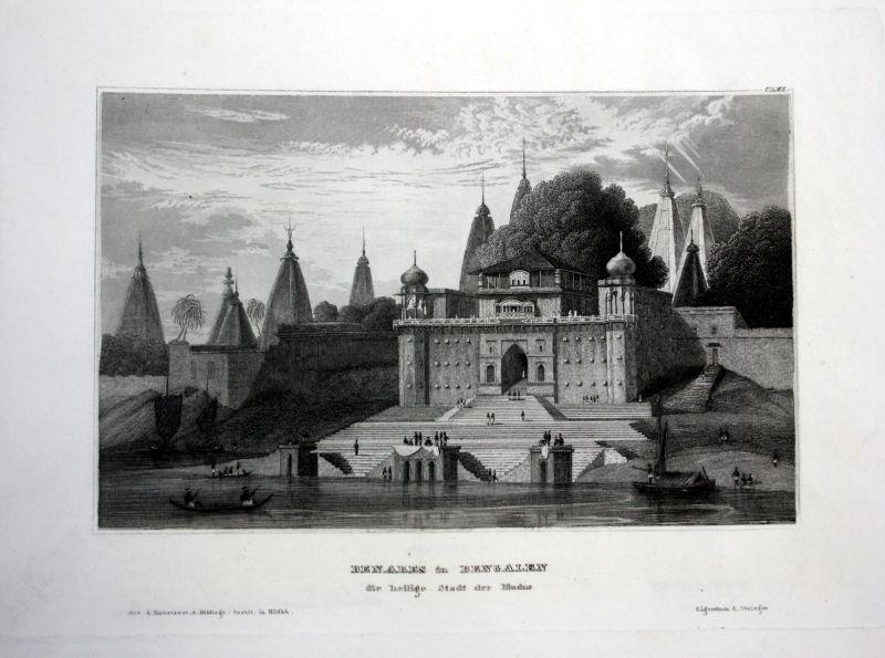 Benares Bengalen Indien India Asien Asia Ansicht Stahlstich antique print view
