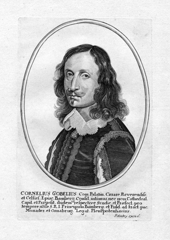 Ca 1650 Cornelius Gobelius Erfurt Weihbischof Portrait Kupferstich antique print