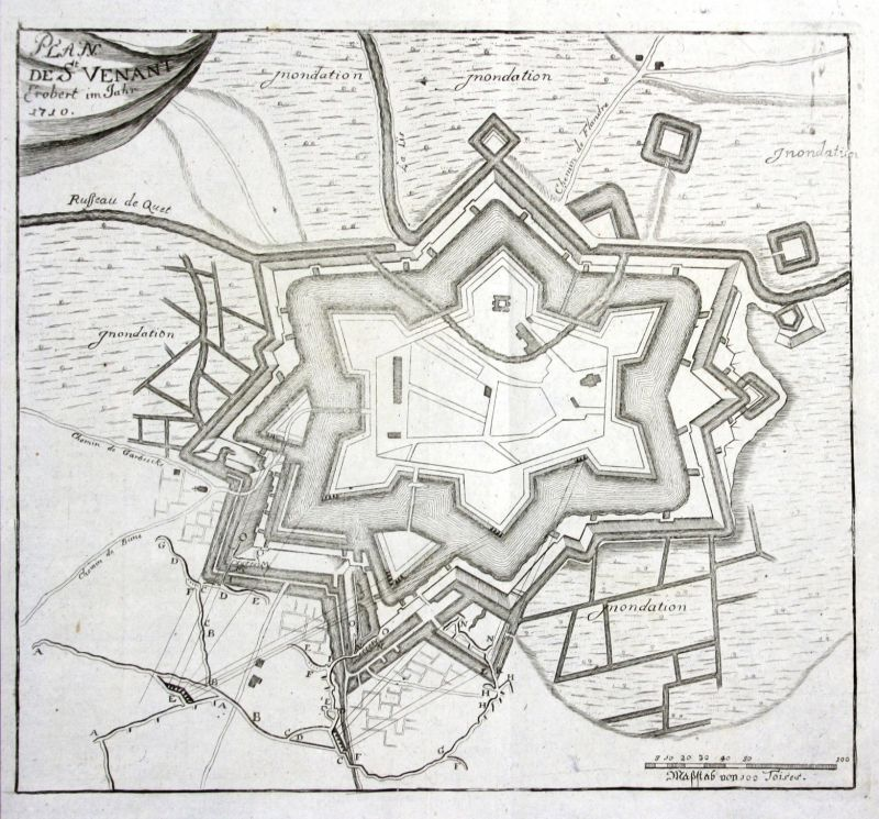 Ca. 1715 Saint-Venant carte plan gravure map Kupferstich antique print Merian
