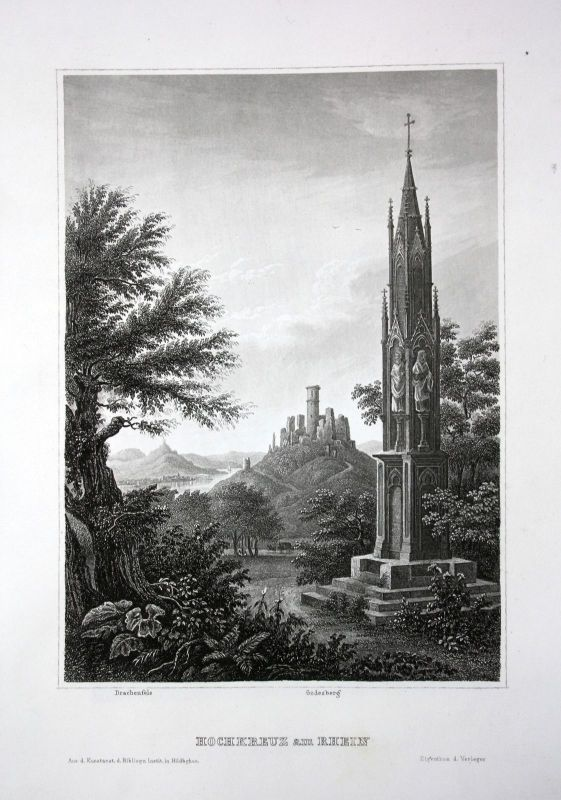 Hochkreuz Rhein Bonn Nordrhein-Westfalen Ansicht Stahlstich antique print view