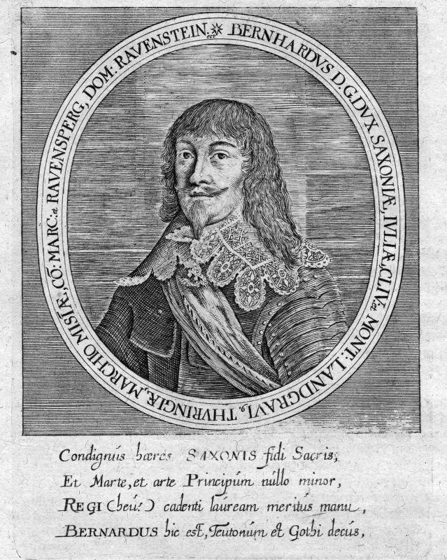 Ca. 1665 Bernhard Sachsen Weimar Thüringen Portrait Kupferstich antique print