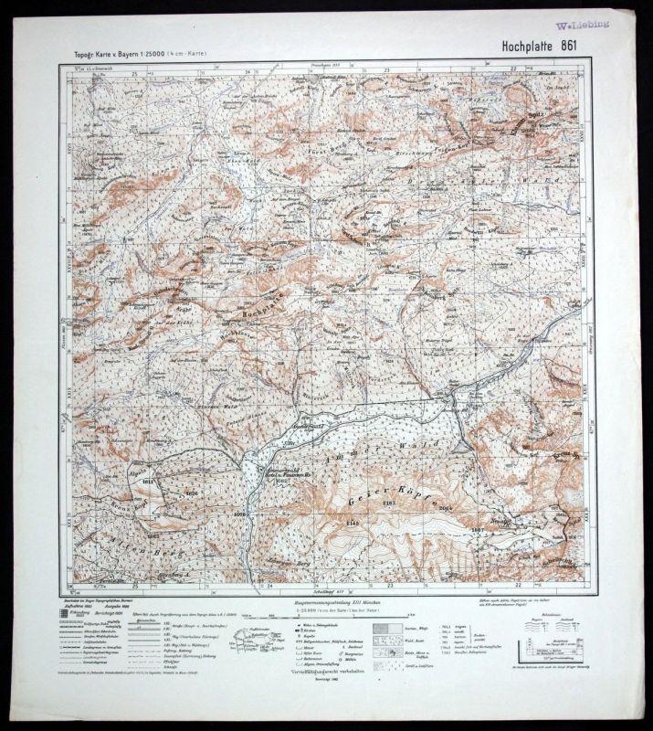1942 Hochplatte Ammerwald Schwangau 1:25000 Karte Meßtischblatt