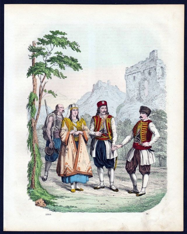 1860 - Montenegro Trachten Tracht costumes Lithographie lithograph