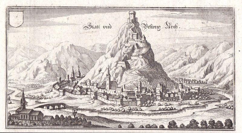 Ca 1650 Castello di Arco veduta acquaforte view Kupferstich antique print Merian