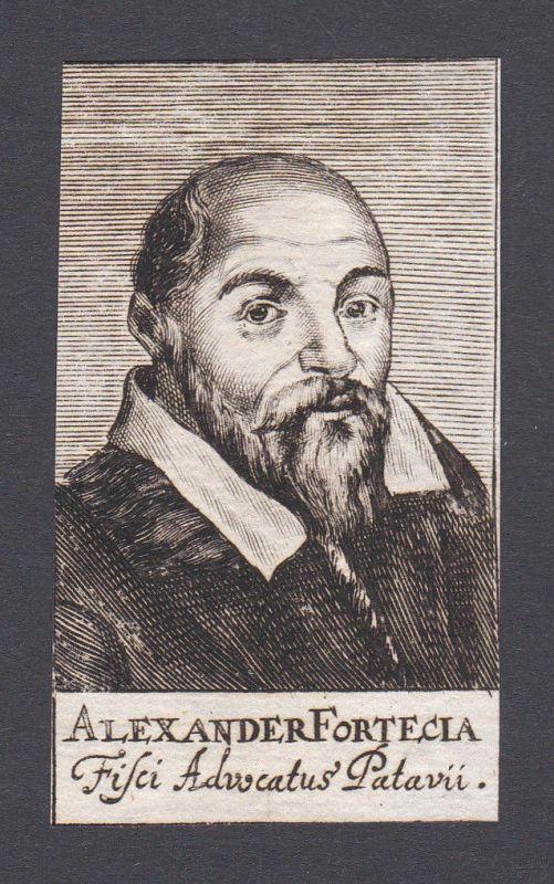 17. Jh. - Alexander Fortecia / jurist Adovat Padova Portrait Kupferstich