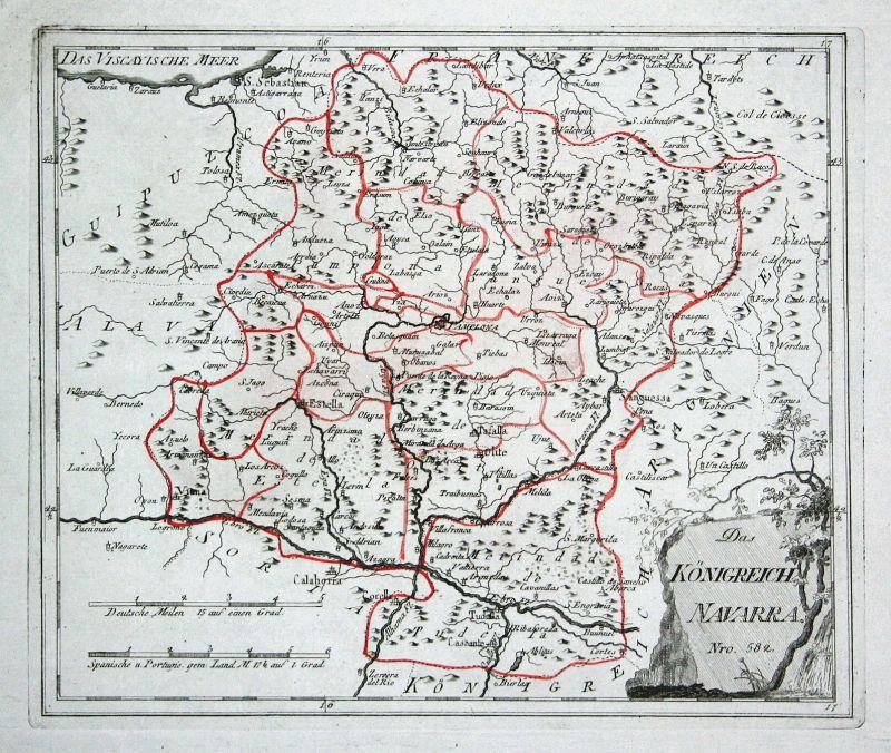 Spanien Spain Portugal Navarra Navarra Pamplona map Reilly engraving Kupf 150488