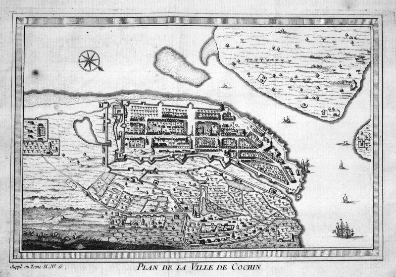 1750 Cochin Kochi Indien India Karte map Kupferstich antique print Bellin