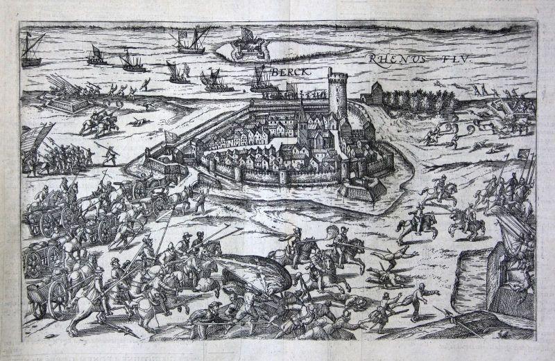 Ca. 1600 Rheinberg Rhein Schlacht battle Kupferstich antique print Hogenberg