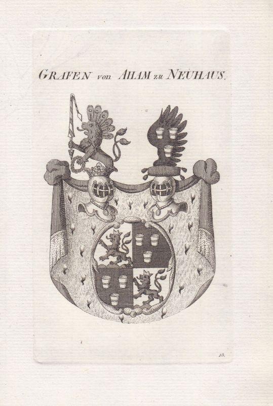 Aham Neuhaus Bayern Wappen coat of arms Heraldik heraldry 1820 Kupferstich