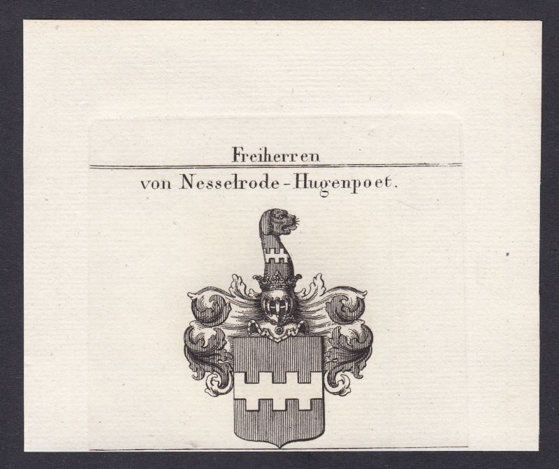 1820 Nesselrode Nordrhein-Westfalen Wappen Adel coat of arms Kupferstich