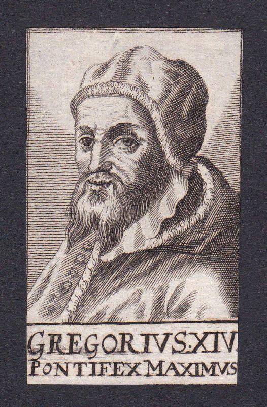 17. Jh. Gregor XIV. / pope Papst Rom Italien Italy Portrait Kupferstich