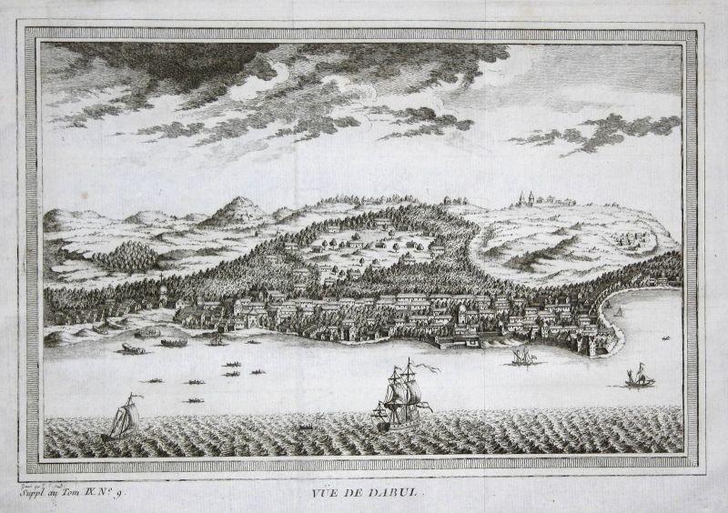 Goa Dabul Dabhol India Indien Asien Asia Ansicht view Kupferstich antique print