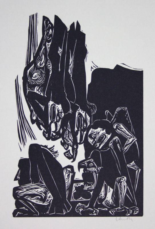1979 Benno Huth Harpyien-Wald Wälder Baum Bäume Linolschnitt signiert Grafik