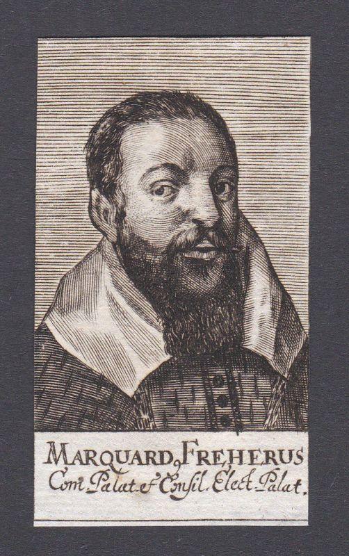 17. Jh. - Marquard Freher jurist diplomat Historiker Pfalz Portrait Kupferstich