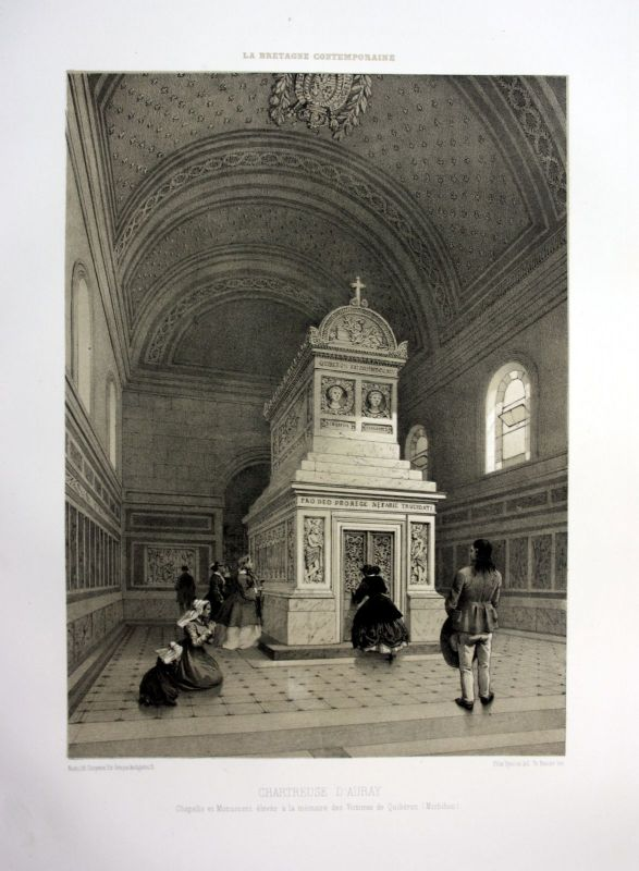Ca. 1870 Chartreuse d'Auray Bretagne France estampe Lithographie lithograph