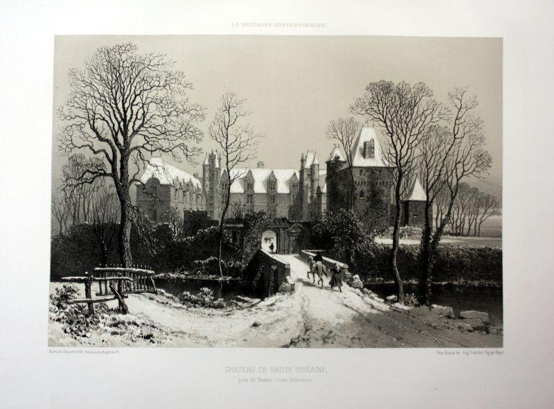 Ca. 1870 Chateau de Goulaine Bretagne France estampe Lithographie lithograph