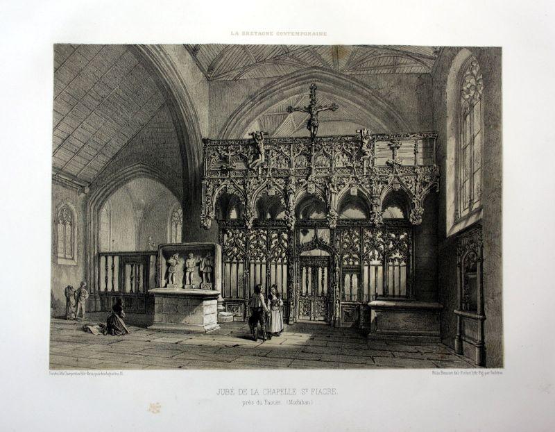 Ca. 1870 Chapelle Saint-Fiacre du Faouet Bretagne France estampe Lithographie