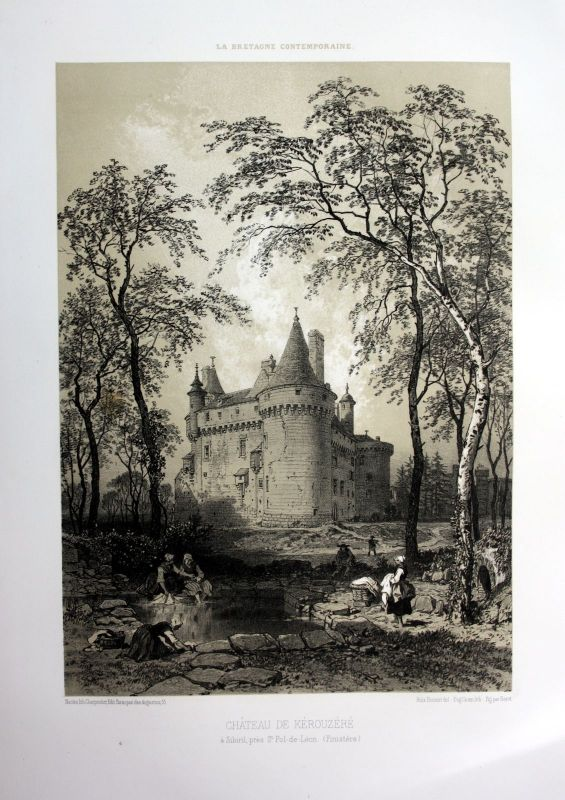 Ca. 1870 Chateau de Kerouzere Sibiril Bretagne France estampe Lithographie litho